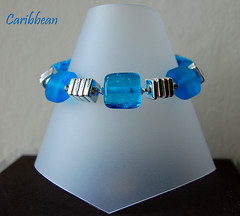 Caribbean - SOLD (gemwaithnia) Tags: uk blue glass wales silver beads aqua handmade bracelet lampwork glitteringprize gemwaithniajewellery trudidoherty