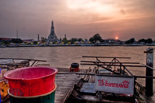 Some Buckets and Wat Arun at Sunset