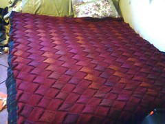 Entrelafghan! Done other than the edging...Modeled on a queen sized bed