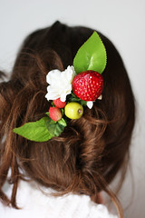 strawberries with cream hair clip