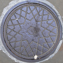 10-pointed star [squared circle] (xiaming) Tags: uk england london metal circle iron unitedkingdom steel drain cover round squaredcircle squircle manhole 2009 squared
