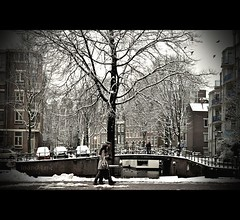 Romance in Amsterdam (Peety Goring) Tags: winter snow holland building cars amsterdam birds buildings boats nikon couple thenetherlands canals noordholland nikond90 nikkor50mm14g