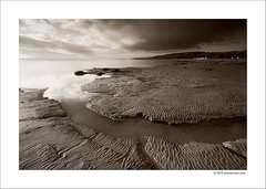 Lines in the Sand (Ian Bramham) Tags: bw beach water lines sepia photography photo sand nikon fineart ripples morecambebay d40 ianbramham