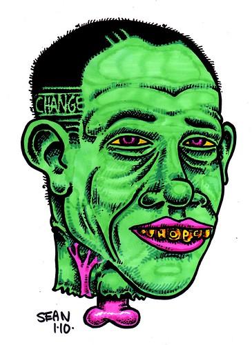 Obama Head Green