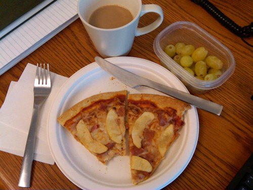 lunch: ham & apple pizza, grapes, decaf coffee