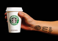 083/365. Corporate World. (deKenter) Tags: cup coffee corporate hand arm tattoos logos 365days 365nov09 dekenter