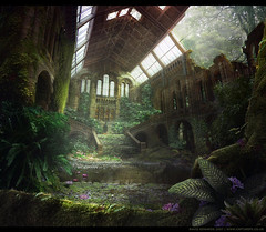 Temple in the Forest (GaiaFly) Tags: green mattepainting mattepaintingorg