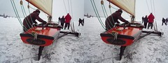 Ice sailing yacht, stereoview (parallel) (Stereomania) Tags: winter holland stereoscopic stereophoto stereophotography 3d skating stereo stereoview parallel marken 2010 woodenshoes klompen monnickendam icesailing gouwzee ijszeilen ijsschuiten