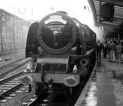Duchess Double Carlisle Cumbria 6th April 1991 (loose_grip_99) Tags: rain station train geotagged blackwhite noiretblanc engine rail railway steam semi cumbria locomotive 1991 carlisle nrm coronation duchess lms britishrailways stanier uksteam duchessofhamilton 46229 gassteam preservaton duchessdouble geo:lat=5488982 geo:lon=2932513