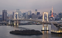 Tokyo from Fuji TV Observation (Sarmu) Tags: city bridge light sunset sea wallpaper urban tower japan skyline architecture night skyscraper observation lights tokyo bay twilight highresolution downtown cityscape fuji view skyscrapers nightshot widescreen landmark icon 1600 highdefinition resolution  1200 tokyotower odaiba cbd hd bluehour wallpapers iconic kanto 1920 tokyobay rainbowbridge vantage 2010 fujitelevision observationdeck vantagepoint  ws 1080 fujitv 1050 720p 1080p urbanity 1680 720 2560  sarmu fujiobservation