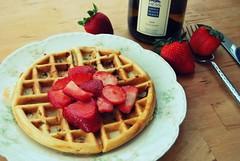 strawberry waffle (sevenworlds16) Tags: white fruit breakfast strawberry wine fresh belgian waffles itsallgood dayofffromwork yesihadwineatbreakfast reallywinehowdecadent