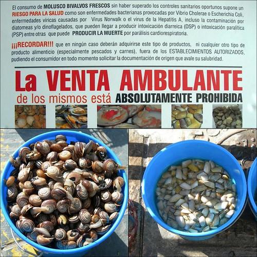 Venta ambulante prohibida de moluscos