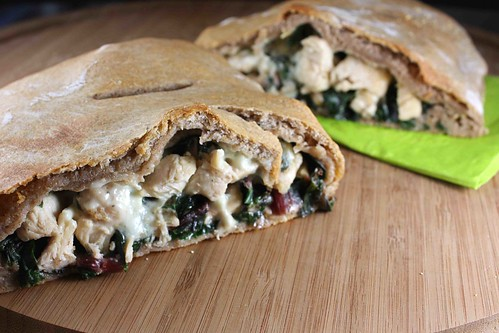 Whole Wheat Calzone Recipe with Chicken, Red Chard & Gorgonzola Cheese