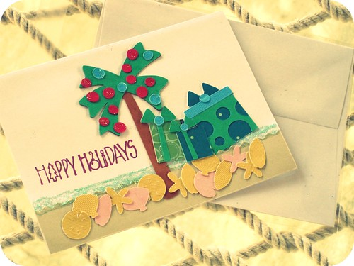 happy holidays beach card