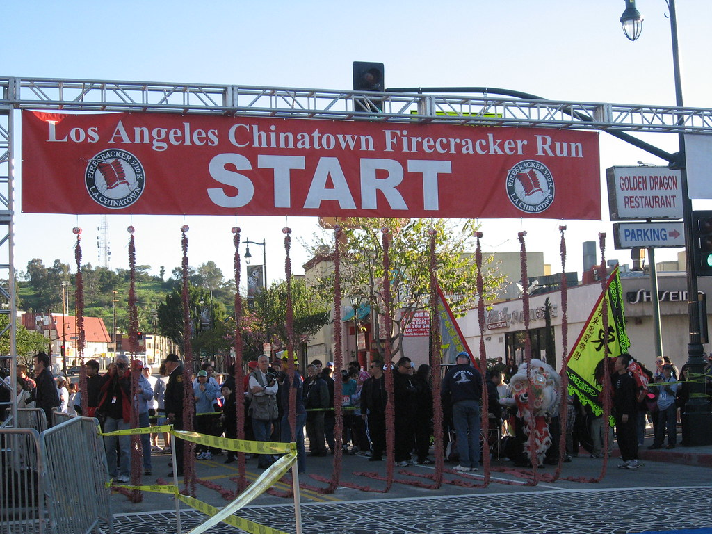 journey   running green girl los angeles chinatown firecracker  run