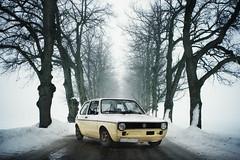 (koinis) Tags: blue snow cold rabbit yellow vw john golf volkswagen photoshoot sigma 1983 24mm 18 avenue twotone mk1 koinberg koinis