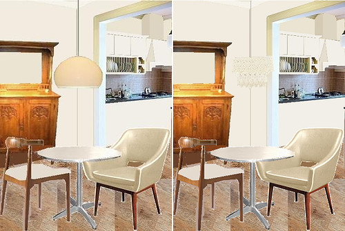 dining table & chairs and lamp choices--my favorite version