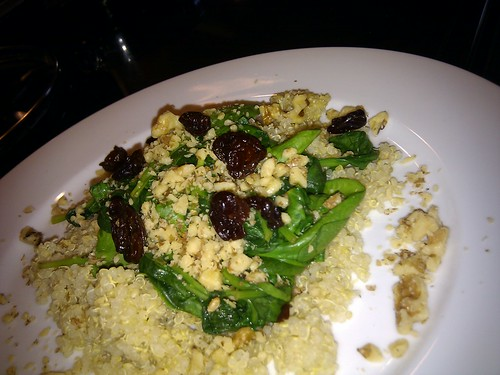 Quinoa topped with Braised Spinach