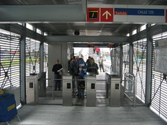 entering a TransMilenio station (by: PoorButHappy in Colombia!)