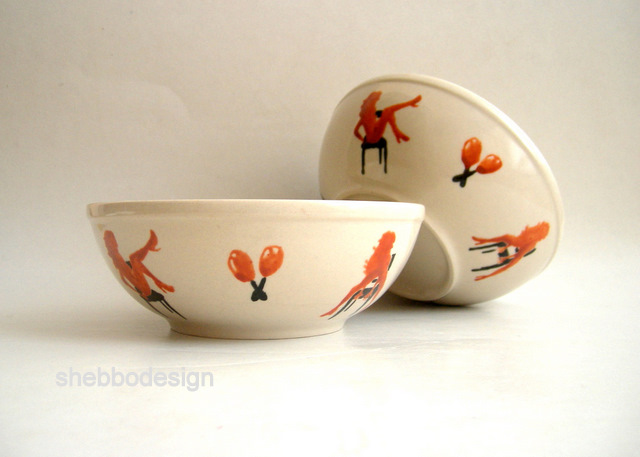 Sexy dancers-Handpainted Bowl Set