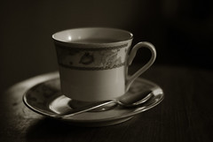 Tea with Grandparents (MikeSkelton01) Tags: china wood cup coffee sepia table handle 50mm tea drink sony plate spoon mug f18 a200 liquid saucer crockery refreshment