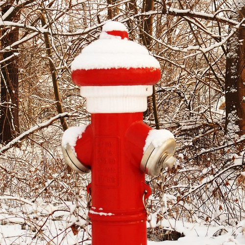 red hydrant with white hat