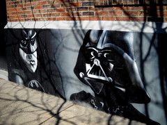 The Dark Knight of the Sith (Ben Rowe Photography) Tags: urban white black art wall burlington painting movie grey mural vermont bricks gray culture pop darth batman vader