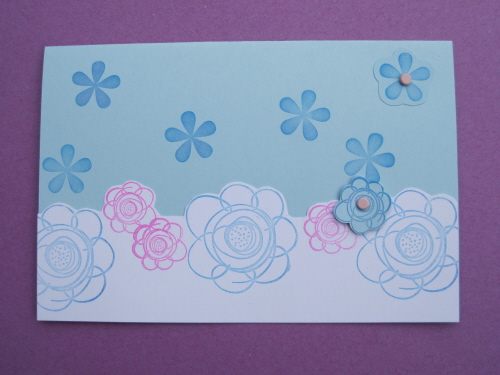 Blue and pink Spring flowers