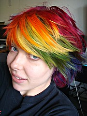 Amazing hair day (Megan is me...) Tags: blue red portrait orange color green colors smile fashion rose yellow self hair effects photography one diy clothing crazy rainbow eyes colorful neon pretty colours russell mckay bright unique awesome meg violet plum megan style nuclear special clothes kind fishbowl iguana jerome colored mayhem punky striped bleached dyed napalm sfx rosered megface meganisme bleachednapalmorange meganyourface