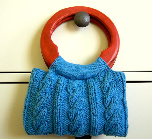 Turquoise knitted handbag