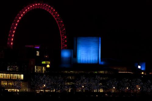 London Eye at Night - Red