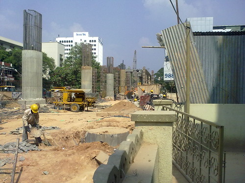 Metro rail work - MG Road, Bangalore