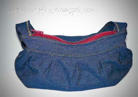 blue denim purse zipper