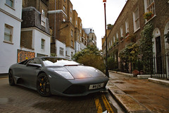 Matte grey Lamborghini Murcilago LP640 parked in a narrow street in London (Martijn Kapper) Tags: uk color london rain grey italian sony united kingdom harrods exotic alpha lamborghini supercar martijn matte a100 2010 brompton londen murcilago kapper carspotting lp640 worldcars autogespot
