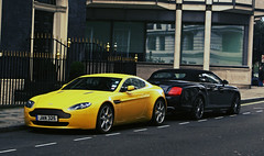 Yellow Aston Martin V8 Vantage and Bentley Continental GTC Speed in London (Martijn Kapper) Tags: black london yellow speed cross martin continental exotic cp process martijn v8 bentley aston vantage supercars gtc kapper proces carspotting amv8 transaxle autogespot