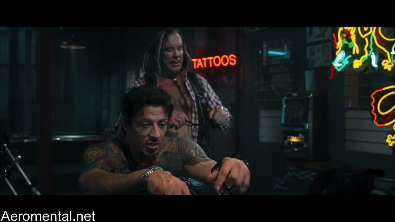 The Expendables Sylvester Stallone Mickey Rourke tattoos
