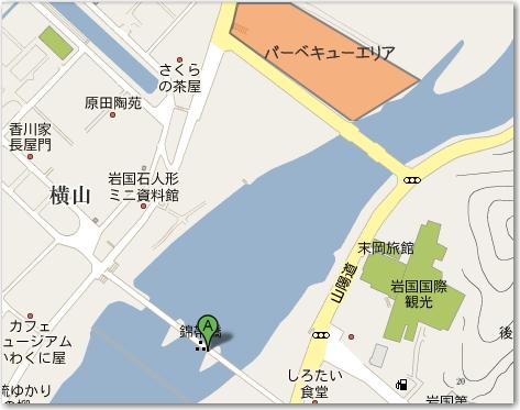 錦帯橋 花見でバーベキューOKのエリア