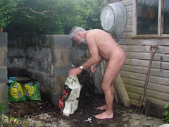 Compost Making John Gw Tags Old Man Male Men Garden Naked Nude Backyard