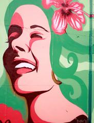 Vintage Graff Girl (Dar's Foto Madness) Tags: pink flower color green art smile minnesota smiling wall photoshop vintage hair graffiti paint dar minneapolis hibiscus hawaiian spraypaint spraycan saturate intermediaarts dars retrolook groverphoto remindsmeofavintagetravelposter