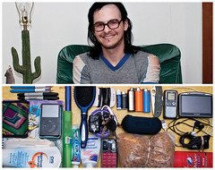 Kyle Diptych (J Trav) Tags: portrait keys persona diptych ipod phone wallet cereal knife case toothpaste whatsinyourbag lighters gps toothbrush scrub charger hairbrush sharpies voicerecorder lubricant chapstick deoderant nikond90 theitemswecarry haribands batmannotebook