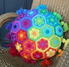 African Flower Cushion (rettgrayson) Tags: wool rainbow spectrum crochet pillow colourful pixels cushion biggan africanflowers rettgrayson