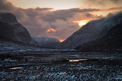 Glen Coe (Duncan Fawkes) Tags: sunset red snow reflection clouds scotland glencoe