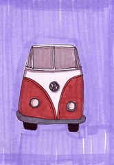 Volkswagon Van (Homemade Pop) Tags: art artwork artist folkart outsiderart folk originalart contemporary drawings pop popart homemade marker prints prismacolor foodart doodling 5x7 magicmarker foodpackaging pilotpen cheapart retroart brightart originalillustration quirkyart
