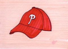 Phillies Hat (Homemade Pop) Tags: art artwork artist folkart outsiderart folk originalart contemporary drawings pop popart homemade marker prints prismacolor foodart doodling 5x7 magicmarker foodpackaging pilotpen cheapart retroart brightart originalillustration quirkyart
