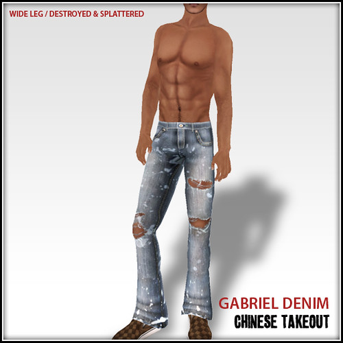ad - gabriel destroyed and splattered denim