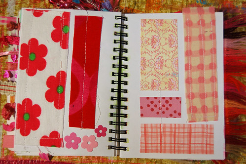 Pink Notebook: fabric and papers