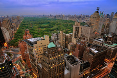 Central Park at Dusk, New York City (andrew c mace) Tags: park city nyc sunset newyork rooftop sky