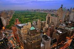 Central Park at Dusk, New York City (andrew c mace) Tags: park city nyc sunset newyork rooftop skyline cityscape dusk centralpark manhattan central wideangle tokina1224 fifthavenue columbuscircle lateafternoon centralparkwest newyorkatnight 59thstreet trumpinternationalhotel nikoncapturenx nikond90 jumeirahessexhouse