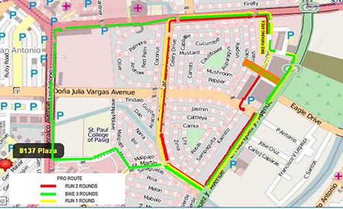 the urban duathlon 2010 pro race map