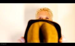 GirlWithHat_TheNetherlands (inlinguam) Tags: blue light portrait woman holland eye netherlands girl face hat canon pose hair eos 50mm eyes focus head scene calm cap short blonde mk2 5d canon5d ef foreground niederlande mkii captoe